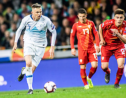 Josip Iličić of Slovenia vs Eljif Elmas of Macedonia and Enis Bardi of Macedonia during football match between National teams of Slovenia and North Macedonia in Group G of UEFA Euro 2020 qualifications, on March 24, 2019 in SRC Stozice, Ljubljana, Slovenia.  Photo by Matic Ritonja / Sportida