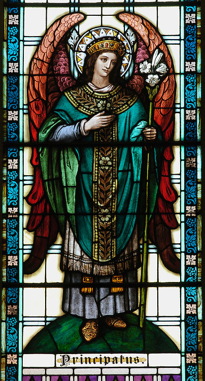 The angel Principatus is depicted in a stained glass window at Our Lady of the Lake Church in Ashland.