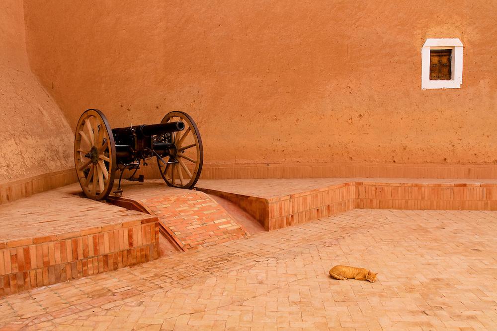 198 / Kasbah Taourirt: AFRIKA, MAR, MAROKKO, OUARZAZATE, OUARZAZATE, 23.09.2010: Eine Katze schlaeft vor einer Kanone in der Kasbah Taourirt in Ouarzazate. Die Festungsanlage war früher die Residenz des Paschas von Marrakesch, Thami El Glaoui. - Marco del Pra / imagetrust - Stichworte: Afrika, Altstadt, Festungsanlage, Frieden, Geschuetz, Kanone, Kasbah, Kasbah Taourirt, Katze, Koenig, Koenigreich, MAR, maroc, Marokko, Marrakesch, Model Release:No, mohammed VI, OUARZAZATE, Pascha, Property Release:No, Stichwort, Thami El Glaoui, Waffe