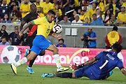 Brazil midfielder Allan (15) is defended by Peru goalkeeper Pedro Gallese (1) during an international friendly soccer match, Tuesday, Sept. 10, 2019, in Los Angeles. Peru defeated Brazil 1-0.