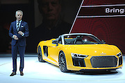Mar 23, 2016 - New York, New York, U.S. - The reveal of the new R8 Spyder at the New York International Auto Show on March 23, 2016 in New York City... (Credit Image: © Exclusivepix Media)