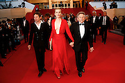 Mathieu Amalric, Emmanuelle Seigner and director Roman Polanski leave the 'La Venus A La Fourrure' premiere during The 66th Annual Cannes Film Festival at Theatre Lumiere on May 25, 2013 in Cannes, France