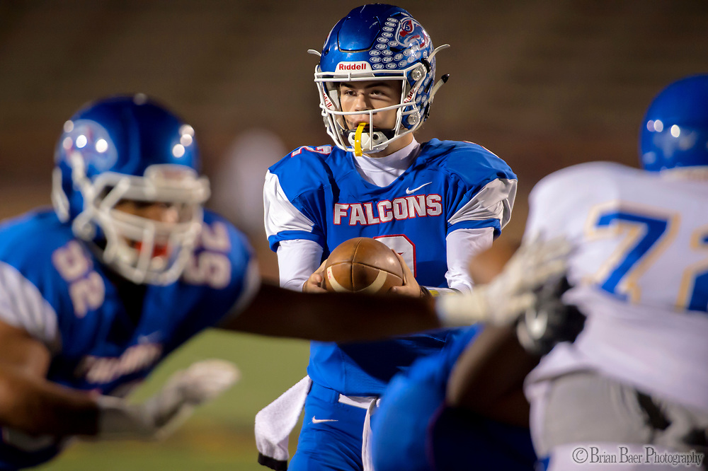 Christian Brothers Falcons Gunnor Faulk, (2), handles the ball as they host the Bencia Panthers in the Sac-Joaquin Section Division III playoff opener at Hughes Stadium, Friday Nov 10, 2017.<br /> photo by Brian Baer