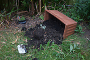 An overturned plant box with soil spilled and newly-planted bulbs damaged by unknown animals although squirrells are the main suspects.