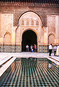 The medieval Medersa Ben Youssef Koranic School in the old Medina, Marrakesh, Morocco, North Africa.