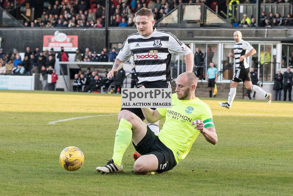 Ayr v Hibernian   SPFL season 2016-2017  <br /> <br /> David Gray (Hibernian captain) and Paul Cairney (Ayr United FC) during the Ladbrokes Championship match between Ayr &amp; Hibernian at Somerset Park Stadium on 5 November 2016<br /> <br /> Picture: Alan Rennie