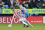 Stoke City defender Cuco Martina (23) on loan from Everton, is challenged by 8 Greg Docherty for Shrewsbury Town during the The FA Cup 3rd round match between Shrewsbury Town and Stoke City at Greenhous Meadow, Shrewsbury, England on 5 January 2019.