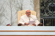 Pope Francis delivers a speech during his weekly general audience at St Peter's square on April 04; 2018 - Vatican