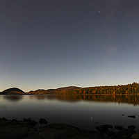 Nearly full moonlight of Eagle Lake, in Acadia National Park, Maine