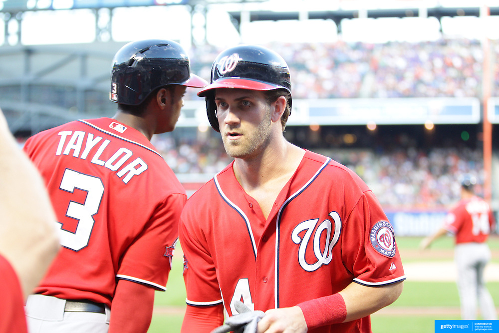 Bryce Harper, Washington Nationals, after scoring a run during the New York Mets Vs Washington Nationals, MLB regular season baseball game at Citi Field, Queens, New York. USA. 1st August 2015. (Tim Clayton for New York Daily News)