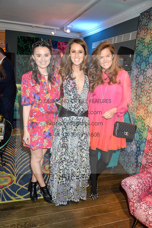 Left to right, VENETIA FALCONER, ROSANNA FALCONER and ROSE THOMAS at the Duresta For Matthew Williamson Exclusive Launch At Harrods, Knightsbridge, London on 10th March 2016.