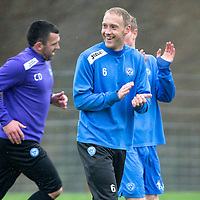 St Johnstone Preview....04.04.14<br /> Steven Anderson pictured during training this morning ahead of tomorrow's game at Kilmarnock<br /> Picture by Graeme Hart.<br /> Copyright Perthshire Picture Agency<br /> Tel: 01738 623350  Mobile: 07990 594431