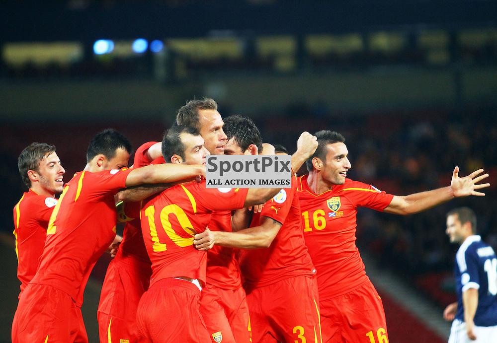 Nicolche Noveski macedonia celebrates scoring in .FIFA World Cup Qualifier scotland v macedonia, hampden stadium, glasgow .Kevin McGlynn(c)  | StockPix.eu.