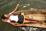 A model wearing Miss Majin, May 3, 2013, Lago, Nigeria.(Photo by Bennett Raglin)