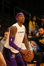 February 27, 2019 - Los Angeles, CA, U.S. - LOS ANGELES, CA - FEBRUARY 27: Los Angeles Lakers Guard Kentavious Caldwell-Pope (1) before the New Orleans Pelicans versus Los Angeles Lakers game on February 27, 2019, at Staples Center in Los Angeles, CA. (Photo by Icon Sportswire) (Credit Image: © Icon Sportswire/Icon SMI via ZUMA Press)