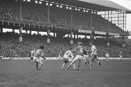 The ball slips between Kerry and Dublin players near the Kerry goalmouth during the All Ireland Senior Gaelic Football Final, Kerry v Dublin in Croke Park on the 28th September 1975. Kerry 2-12 Dublin 0-11.