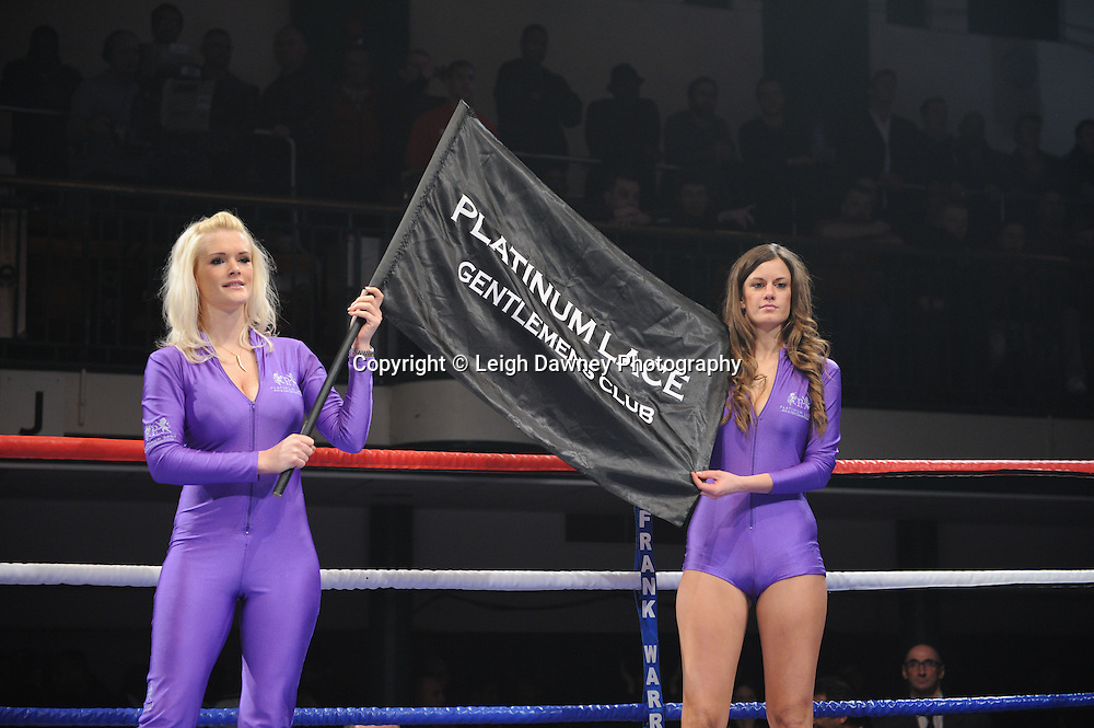 Ring card girls from Platinum Place at York Hall, Bethnal Green, London on the 19th February 2011. Frank Warren Promotions. Photo credit © Leigh Dawney. Light Welterweight
