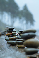 Beach rocks balanced on log at Ruby Beach in Olympic National Park, WA