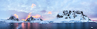 Stunning panoramic sunset in the Lemaire Channel, Antarctica.