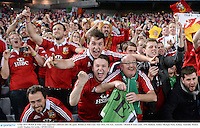 6 July 2013; British & Irish Lions supporters celebrate after the game. British & Irish Lions Tour 2013, 3rd Test, Australia v British & Irish Lions. ANZ Stadium, Sydney Olympic Park, Sydney, Australia. Picture credit: Stephen McCarthy / SPORTSFILE
