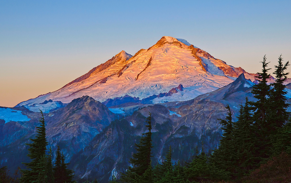 Mount Baker at sunrise from Kulshan Ridge at Artist Point; Cascade Mountains, Washington.