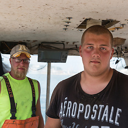 'Norwester III' captains Matt Smith (right), and Eric Smith at Great Wass Lobster in Beals, Maine.