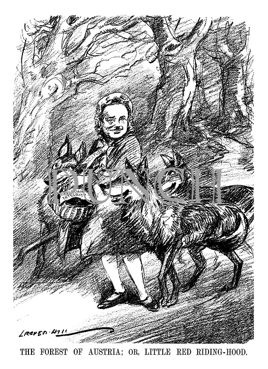 The Forest of Austria; Or, Little Red Riding-Hood. (Austrian Chancellor Engelbert Dollfuss carries a basket of Austrian Integrity surrounded by wolves)