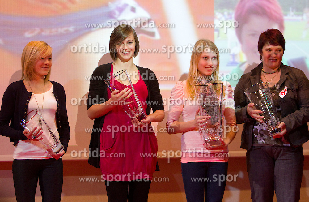 Dorotea Rebernik, Eva Vivod and Marusa Mismas with her coach Spela Dizdarevic  during the Slovenia's Athlete of the year award ceremony by Slovenian Athletics Federation AZS, on November 12, 2008 in Hotel Mons, Ljubljana, Slovenia.(Photo By Vid Ponikvar / Sportida.com) , on November 12, 2010.