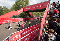 Competitors pass under a bridge with 385 yards to go. The Virgin Money London Marathon, 23rd April 2017.<br /> <br /> Photo: Jed Leicester for Virgin Money London Marathon<br /> <br /> For further information: media@londonmarathonevents.co.uk