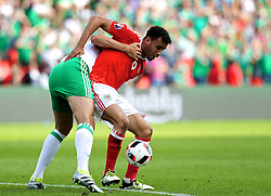 PARIS, FRANCE - Saturday, June 25, 2016: Wales' Hal Robson-Kanu in action against Northern Ireland during the Round of 16 UEFA Euro 2016 Championship match at the Parc des Princes. (Pic by David Rawcliffe/Propaganda)