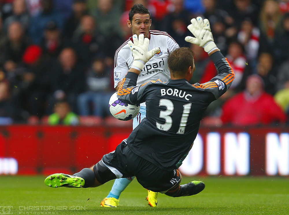 Southampton goalkeeper Artur Boruc denies the goal.