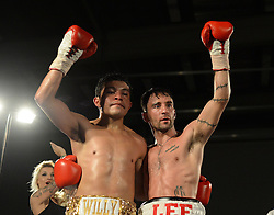 Lee Haskins Celebrates the win with opponent Willy Velazquez - Photo mandatory by-line: Alex James/JMP - Mobile: 07966 386802 - 02/12/2014 - SPORT - Boxing - Bristol - Bristol City academy - Lee Haskins v Willy Velazquez - Boxing