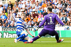 Jon Dadi Bodvarsson of Reading shoots at goal - Mandatory by-line: Robbie Stephenson/JMP - 03/08/2018 - FOOTBALL - Madejski Stadium - Reading, England - Reading v Derby County - Sky Bet Championship
