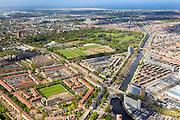 Nederland, Zuid-Holland, Den Haag, 09-05-2013; overzicht westelijk deel van de stad. Laakkanaal aan de Troelstrakade, Moerwijk, Zuiderpark. Wederopbouw en stadsuitbreiding na de oorlog uit de jaren 40 en 50. Noordzee aan de horiozon. <br /> Overview western The Hague,  post-war reconstruction residential area, buit in the fourties and fifties. Northsea on the horizon.<br /> luchtfoto (toeslag op standard tarieven)<br /> aerial photo (additional fee required)<br /> copyright foto/photo Siebe Swart