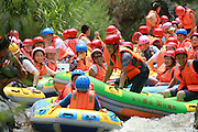 SANMENXIA, CHINA - AUGUST 02: (CHINA OUT) <br /> <br /> Rafting Jam<br /> <br /> Rafting jam caused by a large number of rafts is seen on August 2, 2014 in Sanmenxia, Henan province of China.<br /> ©Exclusivepix