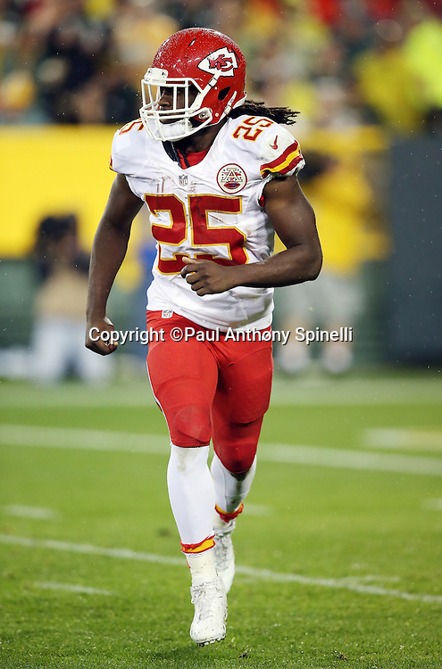 Kansas City Chiefs running back Jamaal Charles (25) goes in motion during the 2015 NFL week 3 regular season football game against the Green Bay Packers on Monday, Sept. 28, 2015 in Green Bay, Wis. The Packers won the game 38-28. (©Paul Anthony Spinelli)