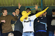 Bury fan dressed as Homer Simpson dabbing during the EFL Sky Bet League 1 match between Southend United and Bury at Roots Hall, Southend, England on 30 April 2017. Photo by Matthew Redman.