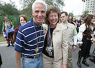 Florida Governor Charlie Crist poses with Tampa Mayor Pam Iorio before the start of the 2007 Gasparilla parade in Tampa, Florida.