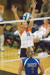 Virginia Cavaliers OH Sarah Kirkwood (10)..The Virginia Cavaliers Volleyball Team fell to the Duke Blue Devils three games to none on November 16, 2006 at Memorial Gymnasium in Charlottesville, VA...