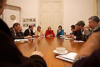 03 NOV 2004, ISTANBUL/TURKEY:<br /> Krista Sager, B90/Gruene Fraktionsvorsitzende, Claudia Roth, B90/Gruene Bundesvorsitzende, Katrin Goering-Eckardt, B90/Gruene Fraktionsvorsitzende, (v.L.n.R.), waehrend einem Pressegespraech, im Rahmen einer Delegationsreise der Bundestagsfraktion Buendnis 90 / Die Gruenen, Deutsches Generalkonsulat Istanbul<br /> IMAGE: 20041103-01-048<br /> KEYWORDS: Tuerkei, Türkei, Hintergrundgespraech, Pressekonferenz, Journalist, Journalisten