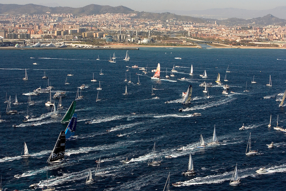 Barcelona, Spain. The Barcelona World Race 2007-08 start. 9 Open 60s start the Barcelona World Race, a two-handed non-stop race around the world. 9 Open 60s crossed the start line at 1pm CET 11/11/07 in light winds and clear skies.