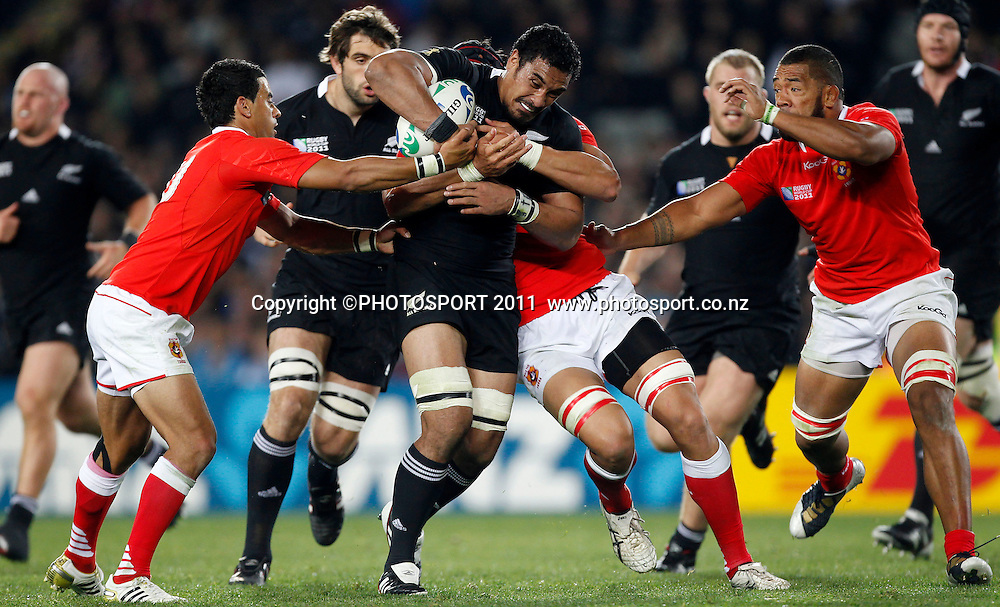 Jerome Kaino of the All Blacks in action during the New Zealand All Blacks versus Tonga opening pool A match of the 2011 IRB Rugby World Cup. Eden Park, Auckland, New Zealand. Friday 9 September 2011. Photo: Simon Watts /Photosport.co.nz