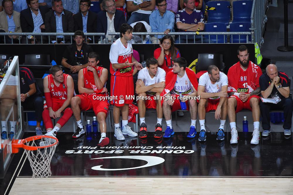 VLADIMIR STIMAC, NEMANJA BJELICA, MILOS TEODOSIC, STEFAN BIRCEVIC, STEFAN MARKOVIC, MARKO SIMONOVIC, MIROSLAV RADULJICA of Serbia basketball team in action during Final FIBA World cup match against  United states of America , Madrid, Spain Photo: MN PRESS PHOTO<br /> Basketball, Serbia, United states of America, Final, FIBA World cup Spain 2014
