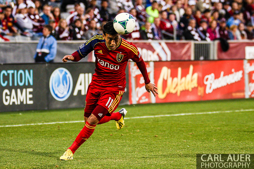 April 6th, 2013 - Real Salt Lake midfielder Javier Morales (11) heads the ball as he makes a run down the pitch in the second half of the MLS match between Real Salt Lake and the Colorado Rapids at Dick's Sporting Goods Park in Commerce City, CO