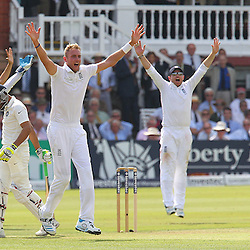 England's Stuart Broad appeals during the first day of the Investec 2nd Test match between England and India at Lords, London, 17th July 2014 © Phil Duncan | SportPix.org.uk