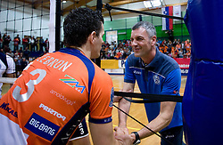Davor Cebron of ACh and coach of Salonit Emanuele Fracascia at last final volleyball match of 1.DOL Radenska Classic between OK ACH Volley and Salonit Anhovo, on April 21, 2009, in Arena SGS Radovljica, Slovenia. ACH Volley won the match 3:0 and became Slovenian Champion. (Photo by Vid Ponikvar / Sportida)