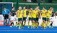 RAIPUR (India) . Celebration after  Matthew Dawson scored 3-0.(Aus)Hockey Wold League Final  men . AUSTRALIA v GERMANY.   © Koen Suyk/Treebypictures/WSP