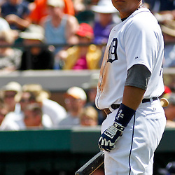 March 14, 2012; Lakeland, FL, USA; Detroit Tigers third baseman Miguel Cabrera (24) at bat during the bottom of the fifth inning of a spring training game against the New York Mets at Joker Marchant Stadium. Mandatory Credit: Derick E. Hingle-US PRESSWIRE