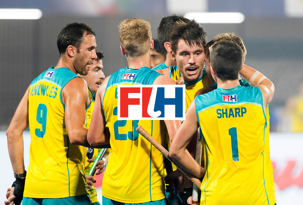 BHUBANESWAR - The Odisha Men's Hockey World League Final . Match ID 02. Australia v India. Jeremy Hayward (Aus) scored 1-1.  .WORLDSPORTPICS COPYRIGHT  KOEN SUYK
