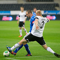 Rosenborg v St Johnstone....18.07.13  UEFA Europa League Qualifier.<br /> Dave Mackay holds off Mikael Dorsin<br /> Picture by Graeme Hart.<br /> Copyright Perthshire Picture Agency<br /> Tel: 01738 623350  Mobile: 07990 594431